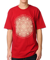 Obey Lotus Syndicate Red Tee Shirt