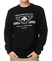 Crooks and Castles Strong Arm Regime Black Crew Neck Sweatshirt