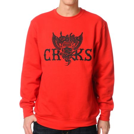 Crooks and Castles Wings & Snakes Red Crew Neck Sweatshirt