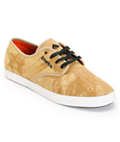 Emerica Wino Over-Dyed Sand & White Canvas Skate Shoe
