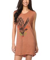 Obey Spirit Bird Brown Voodoo Tank Dress
