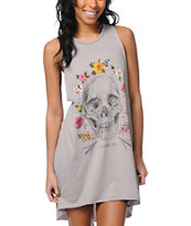 Obey Reincarnation Grey Open Back Tank Dress