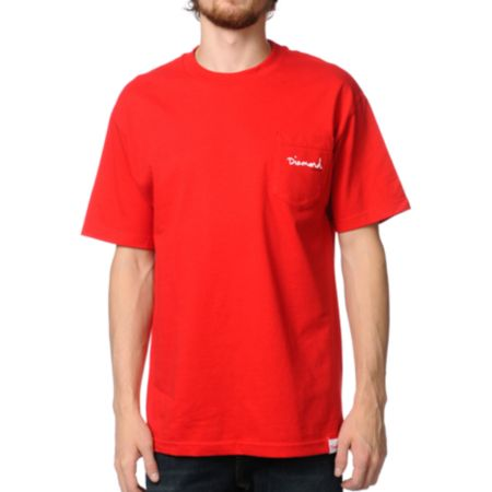 Diamond Supply OG Script Red Pocket Tee Shirt