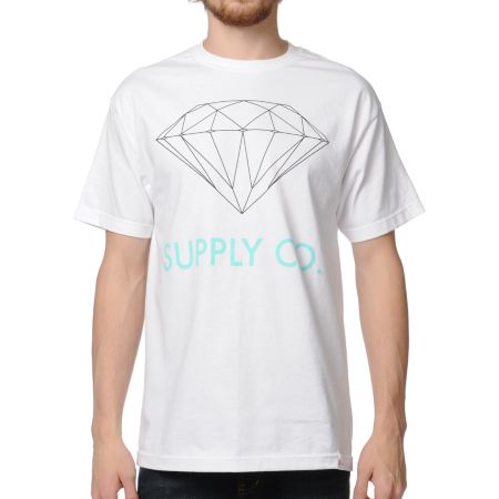 Diamond Supply Co. White & Mint Tee Shirt