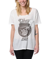 Obey Girls Devious Scumbags Natural Throwback Tee Shirt