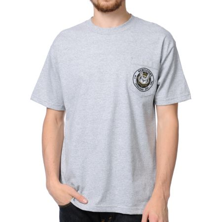 REBEL8 Owluminati Pocket Heather Grey Tee Shirt