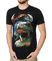 A-Lab Dinos In Space Black Tee Shirt