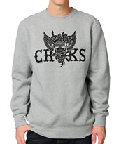 Crooks and Castles Wings & Snakes Grey Crew Neck Sweatshirt