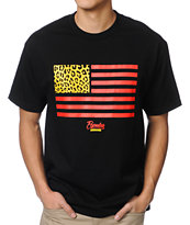 Popular Demand Cheetah Flag Black Tee Shirt