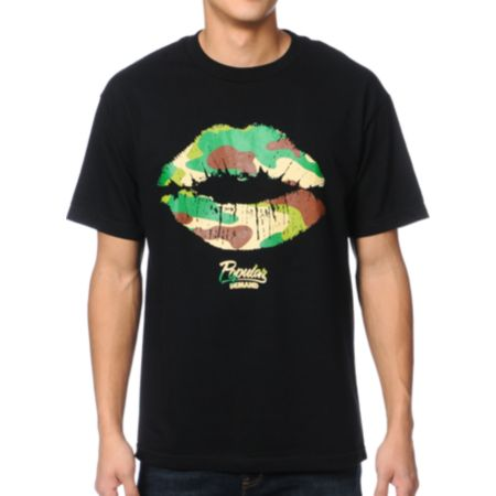 Popular Demand Camo Kiss Black Tee Shirt