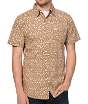 Matix Garage Floral Brown Short Sleeve Button Up Shirt