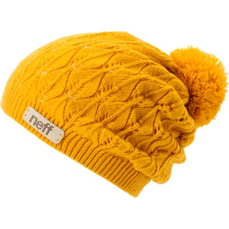 Neff Girls Kelly Gold Crochet Pom Beanie