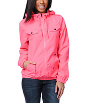Volcom Girls Enemy Lines Neon Pink Windbreaker Jacket