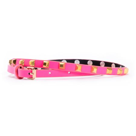Love, Fire PInk Pyramid Studded Skinny Belt