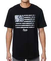 Popular Demand Python Skin Flag Black Tee Shirt