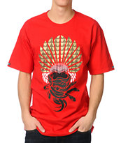 Crooks and Castles Mayan Medusa Red Tee Shirt
