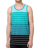 Zine Greenz Green & Black Striped Tank Top