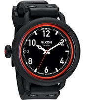 Nixon October Matte Black & Red Watch