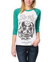 Obey Diamond Skull White & Green Baseball Tee Shirt