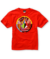 Volcom Boys Stranger Stone Red Tee Shirt