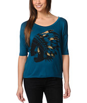 Lira Headdress Dark Teal Scoop Neck Tee Shirt