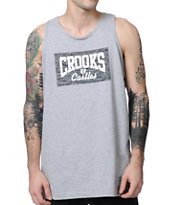 Crooks and Castles Tiger Camo Core Logo Grey Tank Top