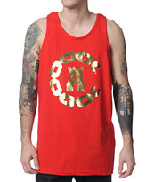Crooks and Castles 10-Year Chain Red Tank Top