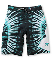 DGK Dont Trip Black & Mint Tie Dye 23 Board Shorts