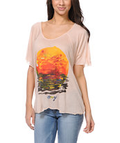 Obey Rising Red Sun Peach Harmony Top