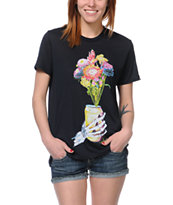 Obey Girls Beer Flower After Hours Black Tee Shirt