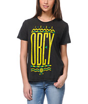Obey Colours Black Tee Shirt