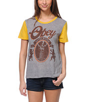 Obey 77 Brewski Grey & Yellow Tee Shirt