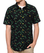 LRG Brightest Heard Black Short Sleeve Button Up Shirt