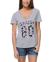 Stussy Girls Hawaii 80 Grey V-Neck Tee Shirt
