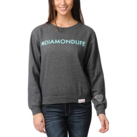 Diamond Supply Hashtag Charcoal Crew Neck Sweatshirt