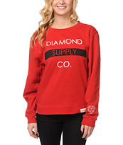 Diamond Supply Girls Bar Red Crew Neck Sweatshirt