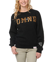 Diamond Supply Girls DMND Leopard Black Crew Neck Sweatshirt