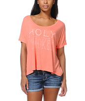 RVCA Girls Holy Smokes Coral Tee Shirt