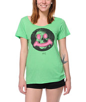 Volcom Girls Say Queso Green Scoop Neck Tee Shirt