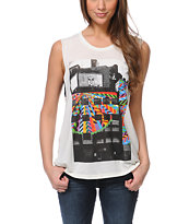 Obey Woodside Boston Mock Twist Natural Moto Cut-Off Tank Top