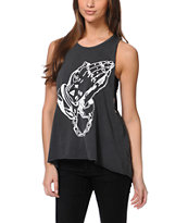 Obey Holy Hands Charcoal Open Back Tank Top
