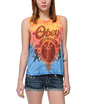 Obey 77 Brewski Tie Dye Felon Cut Off Tank Top