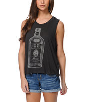 Obey Bottle Of Joy Charcoal Felon Cut Off Tank Top