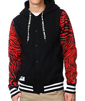 Trukfit Zebra Print Red & Black Hooded Varsity Jacket