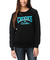 Crooks and Castles Girls Core Logo Black Crew Neck Sweatshirt