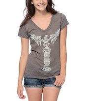 Empyre Girls Totem Charcoal V-Neck Tee Shirt