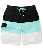 Diamond Supply OG Logo Black, White, & Mint 22 Board Shorts