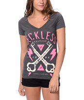Young & Reckless Keyed In Charcoal V-Neck Tee Shirt