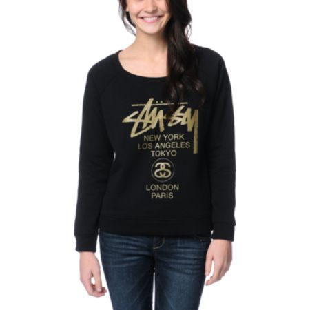 Stussy Girls World Tour Black & Gold Crew Neck Sweatshirt