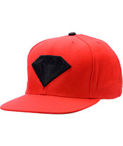 Diamond Supply Emblem Red & Black Snapback Hat